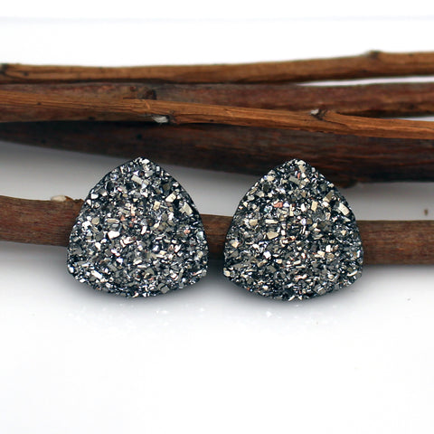 Gunmetal Triangle Stud Earrings