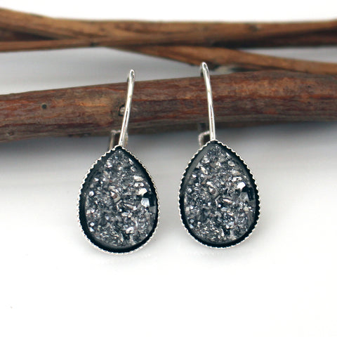 Gunmetal Faux Druzy Teardrop Leverback Earrings | Silver
