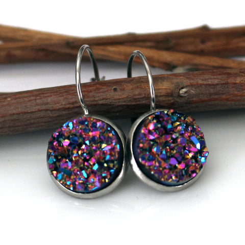 Metallic Pink Faux Druzy Leverback Earrings | 12mm | Stainless Steel