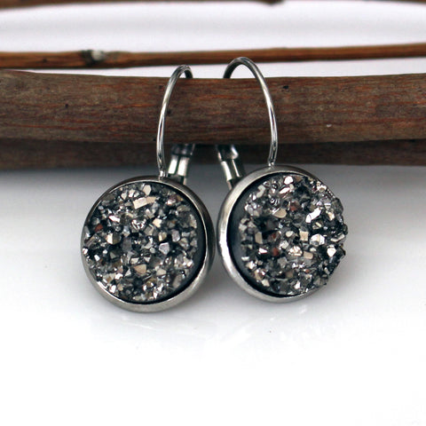 Gunmetal Faux Druzy Leverback Earrings | 12mm | Stainless Steel