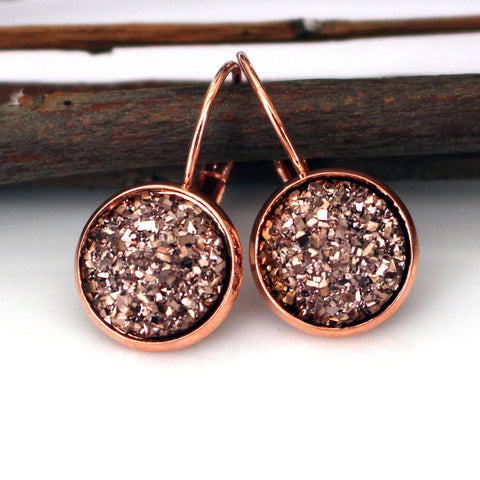 Rose Gold Flat Faux Druzy Leverback Earrings | 12mm | Rose Gold