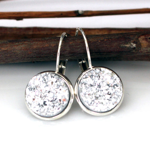 Silver Faux Druzy Leverback Earrings | 12mm | Silver
