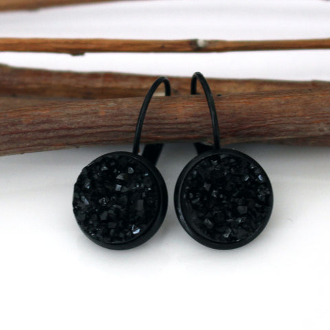 Black Faux Druzy Leverback Earrings | 12mm | Black