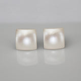 Cream Pearl Swarovski Crystal Square Stud Earrings | 8mm | Stainless Steel