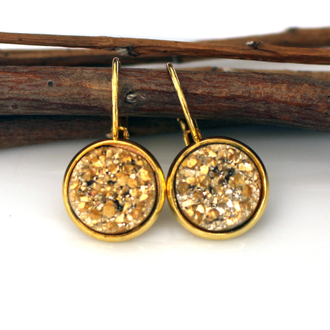 Gold Faux Druzy Leverback Earrings | 12mm | Gold