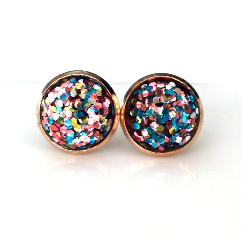 Unicorn Glitter Stud Earrings | 12mm | Light Rose Gold