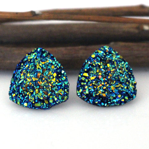 Metallic Blue Triangle Stud Earrings
