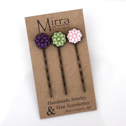 Bronze Flower Hair Pins