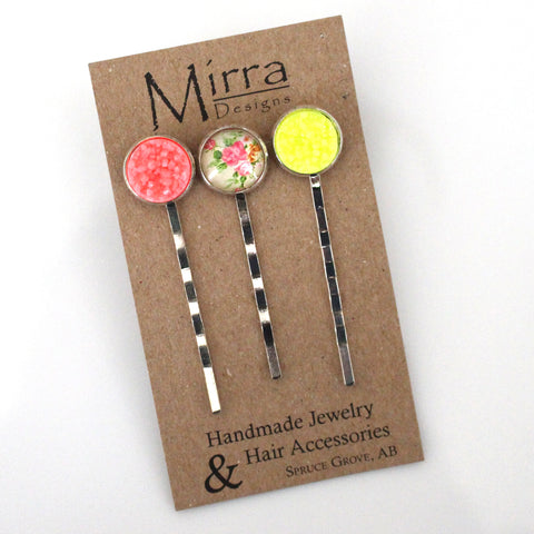 Yellow Floral Hair Pins