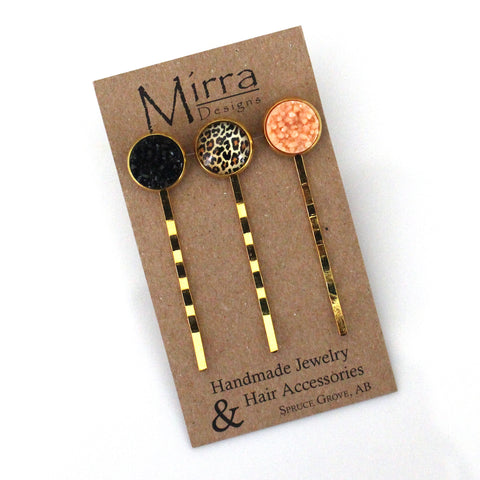 Black Leopard Hair Pins