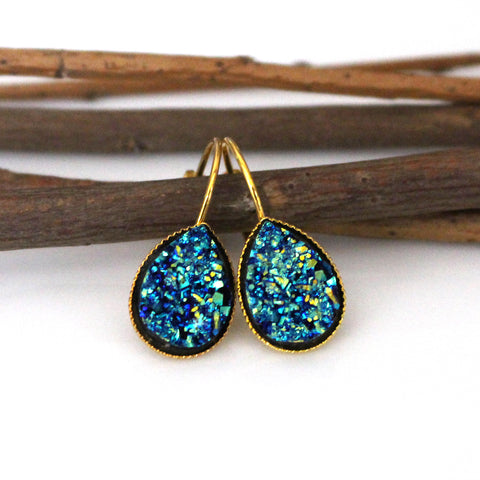 Metallic Blue Faux Druzy Teardrop Leverback Earrings | Gold