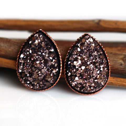 Rose Gold Teardrop Stud Earrings | Rose Gold