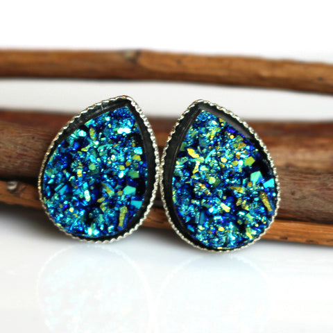 Metallic Blue Teardrop Stud Earrings | Silver