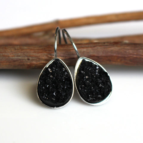 Black Faux Druzy Teardrop Leverback Earrings | Stainless Steel