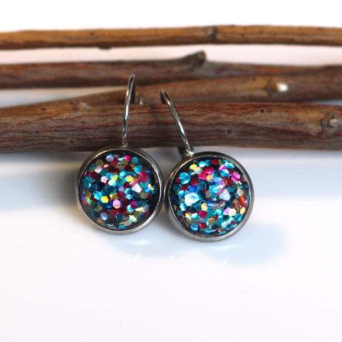 Mermaid Glitter Leverback Earrings | 12mm | Stainless Steel