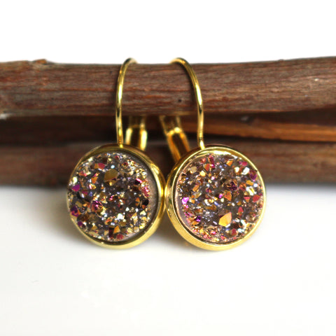 Champagne Gold Faux Druzy Leverback Earrings | 12mm | Gold