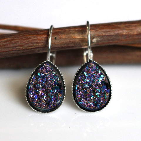 Metallic Magenta Faux Druzy Teardrop Leverback Earrings | Silver