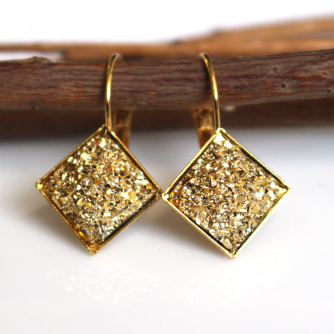 Gold Flat Square Faux Druzy Leverback Earrings | 12mm | Gold