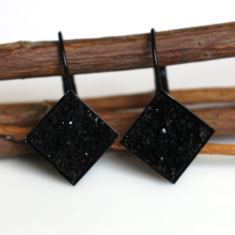 Black Square Faux Druzy Leverback Earrings | 12mm | Black