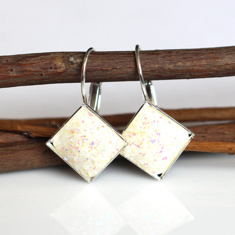 White Flat Square Faux Druzy Leverback Earrings | 12mm | Silver