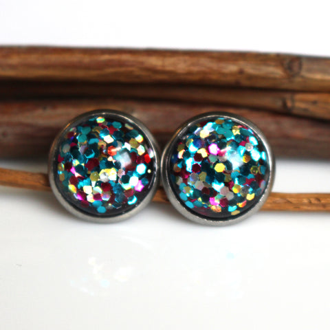 Mermaid Glitter Stud Earrings | 12mm | Stainless Steel