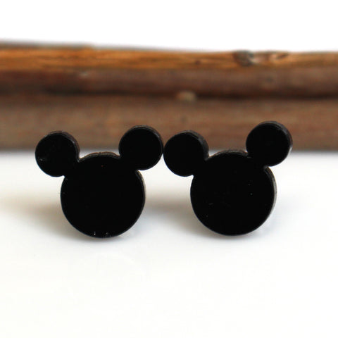 Black Mouse Stud Earrings | Stainless Steel