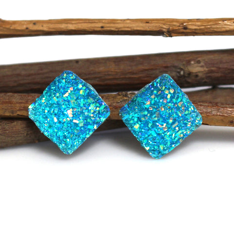 Turquoise AB Diamond Stud Earrings | 12mm | Stainless Steel