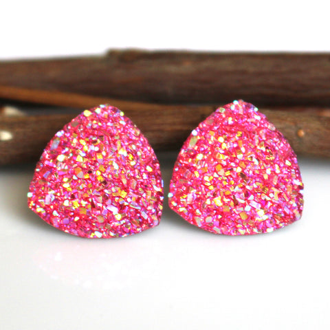 Pink AB Triangle Stud Earrings