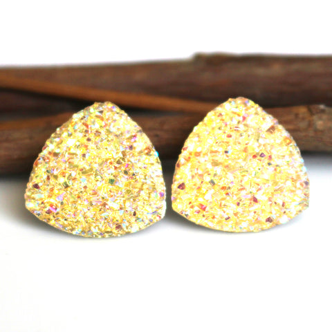 Yellow AB Triangle Stud Earrings