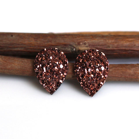 Copper Upside Down Teardrop Stud Earrings | Stainless Steel