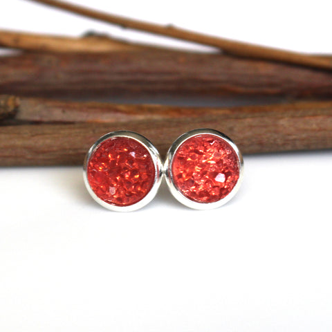 Watermelon Stud Earrings | 8mm | Silver