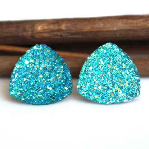Turquoise AB Triangle Stud Earrings