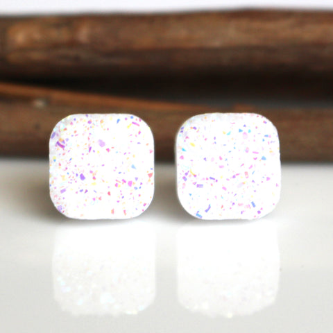 White AB Square Stud Earrings | 10mm | Stainless Steel