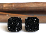 Black Square Stud Earrings | 10mm | Stainless Steel