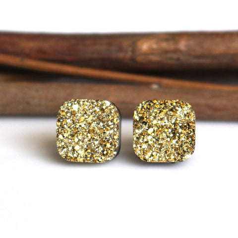 Gold Square Stud Earrings | 10mm | Stainless Steel