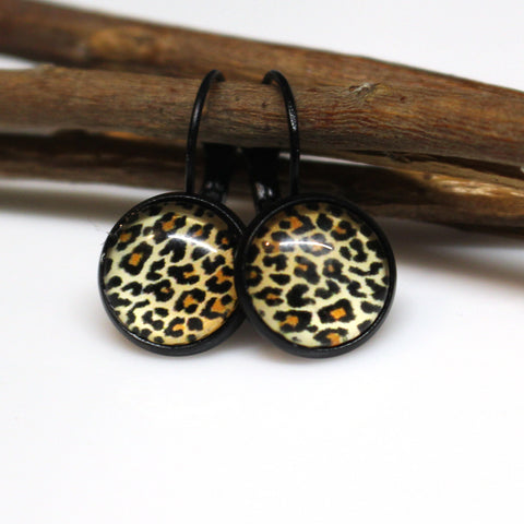 Leopard Print Leverback Earrings | 12mm | Black