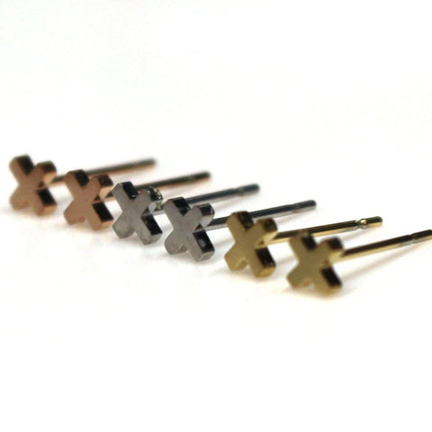 Cross Stud Earrings | Stainless Steel