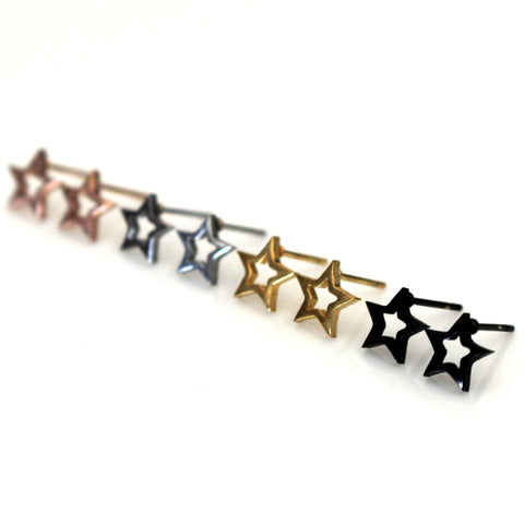 Open Star Stud Earrings | Stainless Steel