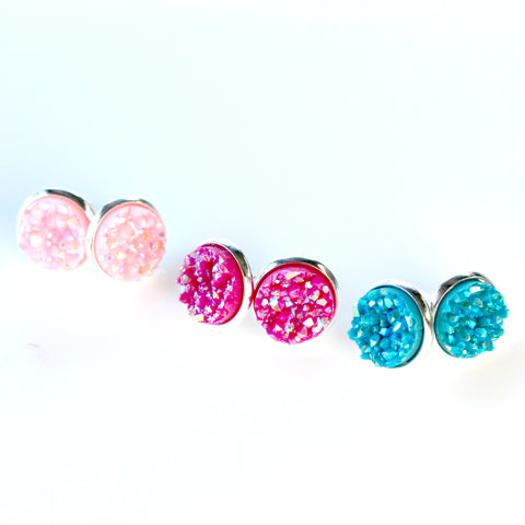 Colourful Stud Earrings | 10mm | Silver