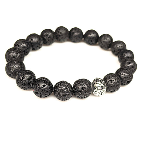 Lava Rock Gemstone Stretch Bracelet
