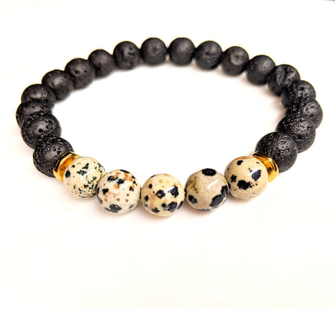Dalmatian Jasper Lava Rock Gemstone Stretch Bracelet