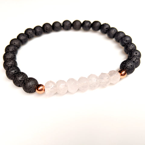 Rose Quartz Lava Rock Gemstone Stretch Bracelet