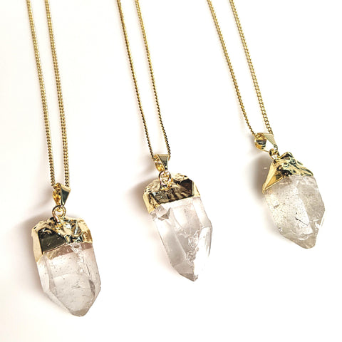 Quartz Gemstone Pendant Necklace | 36"