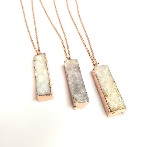 White Druzy Gemstone Bar Pendant Necklace | 24"