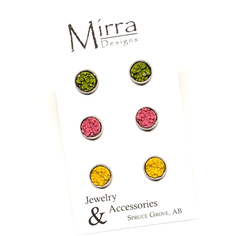 3 Pack | Spring | 8mm Stud Earrings