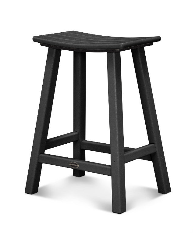 "Traditional 24"" Saddle Bar Stool Black"
