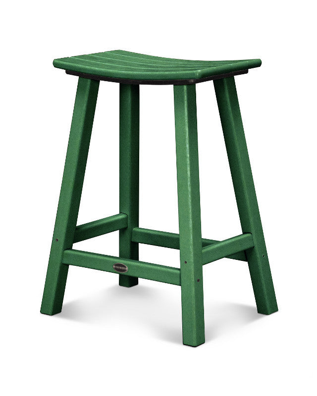 "Traditional 24"" Saddle Bar Stool Green"