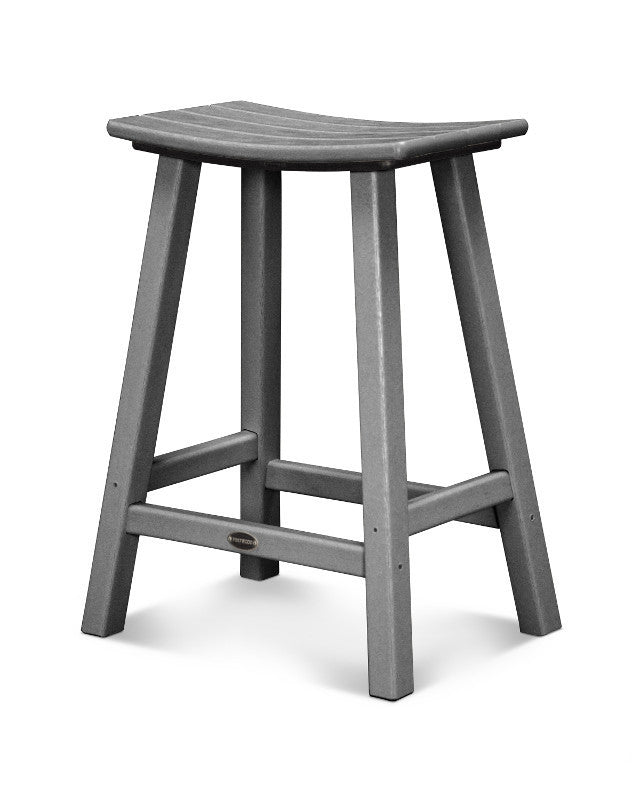 "Traditional 24"" Saddle Bar Stool Slate Grey"