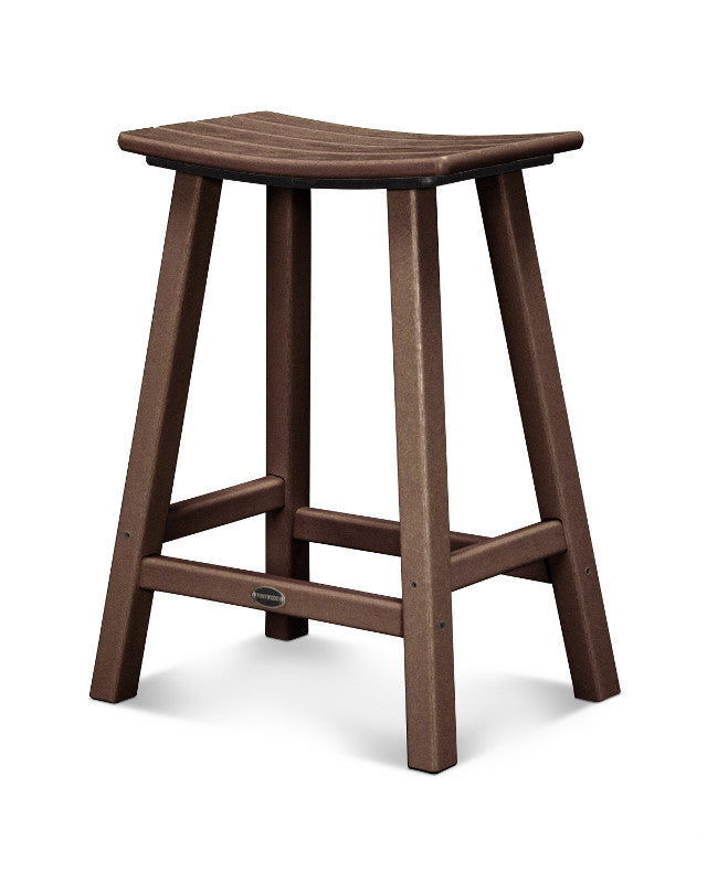 "Traditional 24"" Saddle Bar Stool Mahogany"