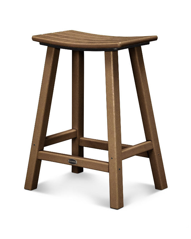 "Traditional 24"" Saddle Bar Stool Teak"